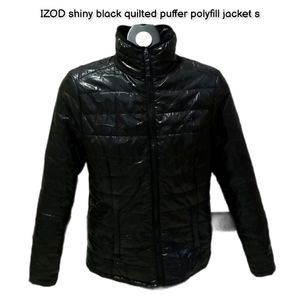 IZOD shiny black quilted puffer polyfill jacket s